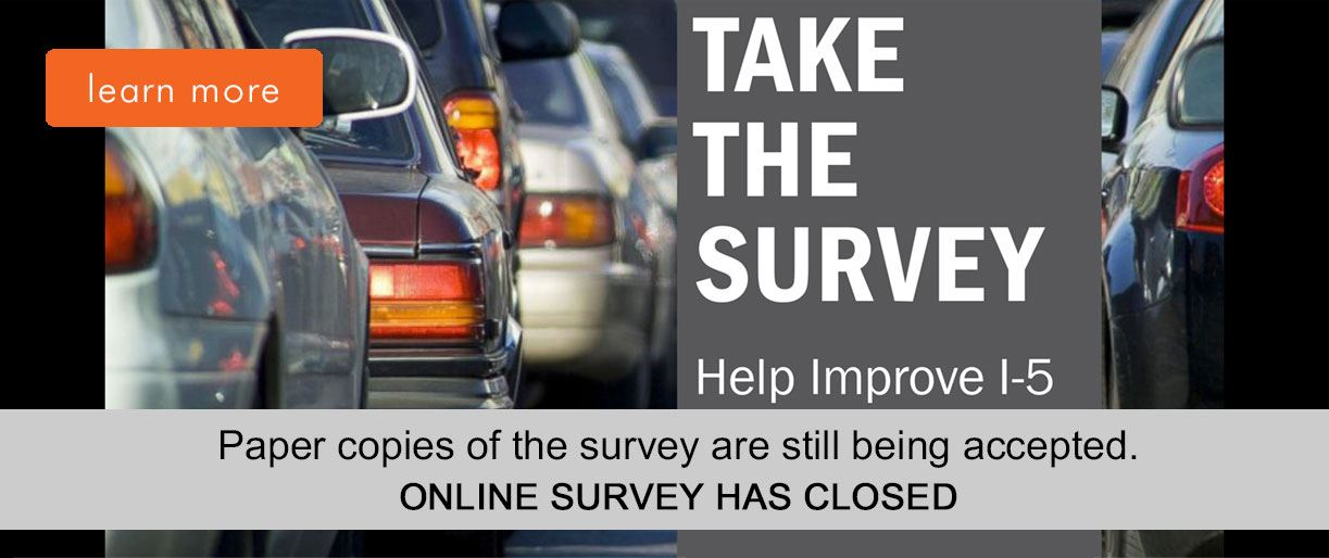 banner image - I-5 Survey is closed, paper copies are still being accepted