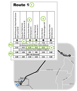 Example of a route schedule for the Rural and Tribal Transportation system
